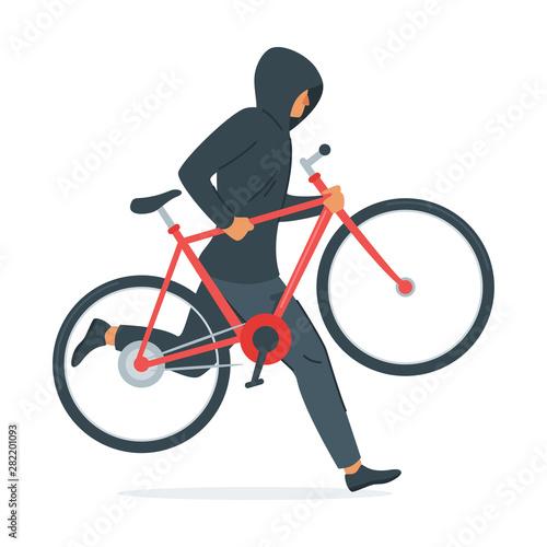 Cuadros en Lienzo  Criminal stealing bicycle vector illustration