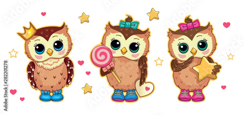 A set of cartoon cute owls.  An owl with a star, a candy and a crown. Isolated illustration, suitable for print. Vector.