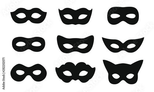 Fényképezés Black mask vector icon collection
