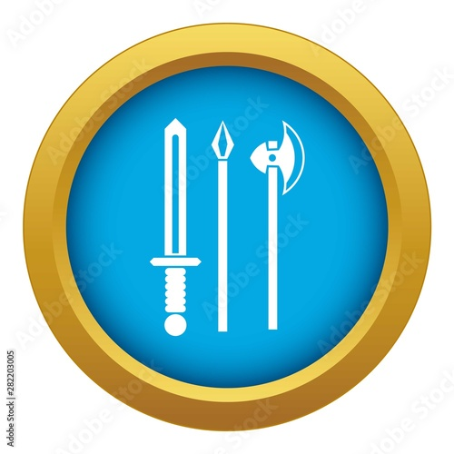 Obraz na plátně Ancient weapon sword, pick and axe icon blue vector isolated on white background