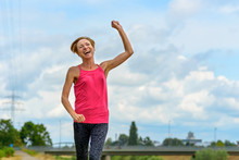 Laughing Extrovert Woman Rejoicing Outdoors