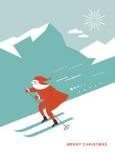 Santa Skiing Downhill In High Mountains, Greeting Card, Season Greetings, Poster, Banner