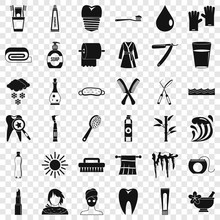 Brush Icons Set. Simple Style Of 36 Brush Vector Icons For Web For Any Design