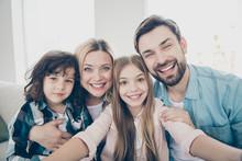 Photo Of Family Two Children Making Selfies Weekend Great Mood Best Friends