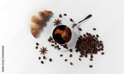 Fotobehang Cafe cup of coffee with coffee beans, milk froth, saucer, croissant,cinnamon seeds and spoon isolated on a white background, 3d render