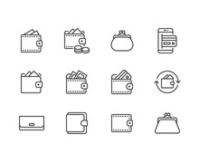 Wallet Flat Line Icons Set. Purse With Money, Coins, Credit Card, Cashback, Online Payment Vector Illustrations. Finance Outline Signs. Pixel Perfect 64x64. Editable Strokes