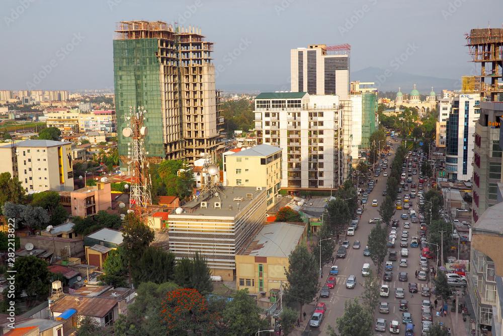 Busy skyline of Addis Ababa, Ethiopia