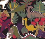 Fototapeta Dinusie - Vector seamless pattern with hand drawn dinosaurs and tropical leaves and flowers.