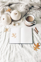 Autumn Breakfast In Bed Composition. Blank Open Notebook Mockup. Cup Of Coffee, White Pumpkins, Sweater, Oak Leaves And Cinnamon On Linen Background. Thanksgiving, Halloween. Flat Lay. Top View