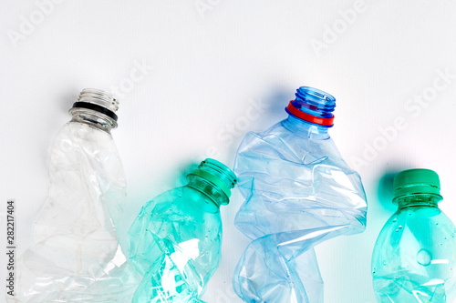 Fotografia, Obraz  Empty colorful plastic bottles are recyclable waste