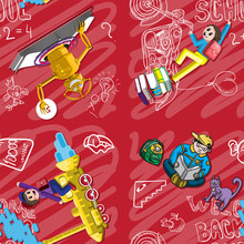 Seamless Pattern Back To School. Illustration Of Funny Characters, The Robot Schoolboy Chalk Board Backpack Motorcycle Engine. For Notebooks Print Paper Fabrics Textiles. Vector Image