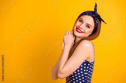 Cuadros en Lienzo Profile photo of beautiful lady red lipstick overjoyed wear casual dotted dress