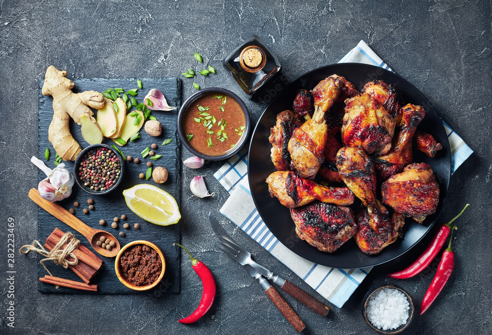 Fototapety, obrazy: Grilled spicy Jerk Chicken drumsticks and thighs