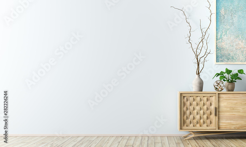 Interior background with wooden cabinet 3d rendering