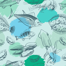 Sealife Seamless Pattern With Grunge Elements. Ocean Texture With Fish, Shell, Octopus. Vector Sealife Seamless Pattern, Ocean Animal, Sea Wild Fish Illustration