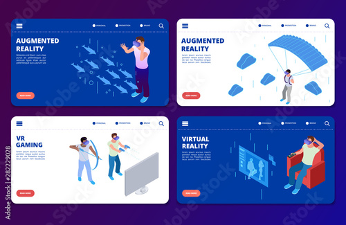 Photo Isometric VR gaming, augmented reality vector landing pages templates
