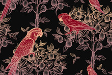 Gold Trees And Red Parrots On A Black Background. Seamless Pattern.
