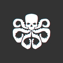 Vector Illustration Of 3d Skull With Octopus Tentacles
