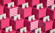 Leinwanddruck Bild - 3d Cubes Pattern render Fresh still life holidays illustration Vacations composition White Photo camera summer objects closeup Pink background with waves patterns