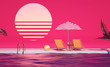 canvas print picture - 3d lounge sunbed idea Swimming Pool party Mood Holidays background composition Creative design backdrop Pink Evening Tropical flowers and umbrellas