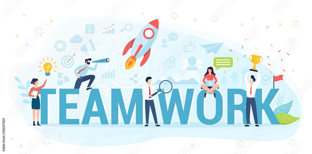 Fototapeta Teamwork concept vector illustration. Idea of working together.