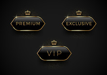 Vip, Premium And Exclusive Black Glass Labels With Golden Crown And Frame On A Black Background. Premium Design. Luxury Template Design. Vector Illustration.