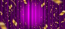 Spotlight On Purple Curtain Background And Falling Golden Confetti. Vector Illustration.