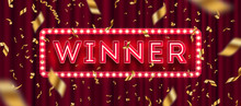 Neon Light Winner Retro Signbo...