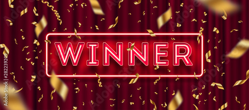 Fotografia Neon light winner signboard and golden foil confetti against a red curtain background
