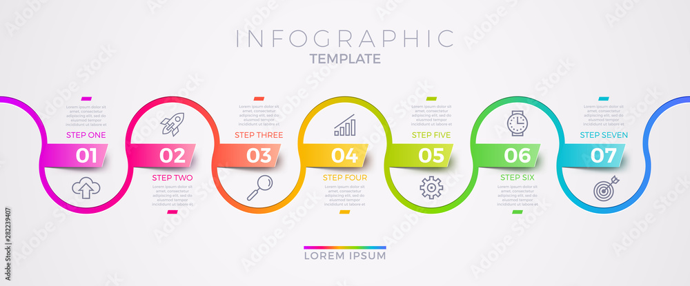 Fototapeta Infographic template design with business icons. Flow chart with seven options or steps. Infographic business concept. Design for presentation, promotion, workflow layout, diagram, annual report & etc
