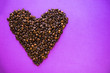 canvas print picture - Heart coffee of coffee beans on burlap texture