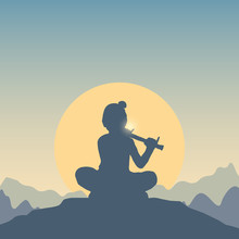 Background For Celebration Of Happy Janmashtami Festival Of India. Lord Krishna Playing The Flute At The Top Of A Hill. Vector Flat Card, Banner With Silhouette Of Boy And Mountain Landscape, Sun.
