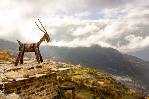 wide angle view from the traditional white village of Capileira in the Sierra Ne Canvas Print