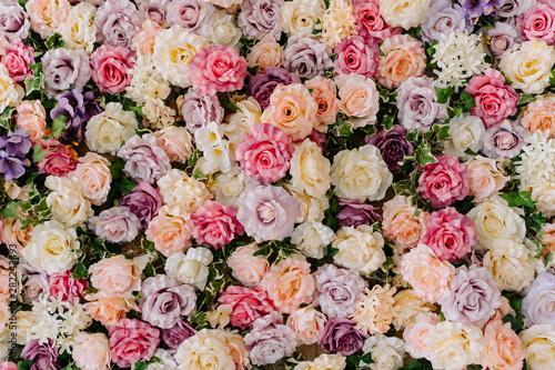 Poster Fleuriste Beautiful Decorative Colorful Roses Background. Traditional Wedding Party Decor Detail. Pastel Flower Texture Closeup. Delicate Blossom Macro. Elegant Arrangement Floristics Setting