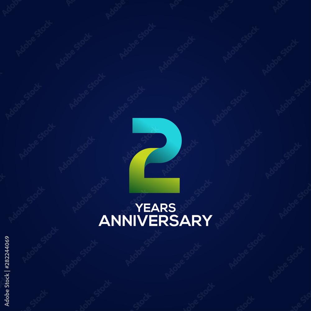 Fototapeta 2 Gradient Anniversary Number Vector Design For Celebrate