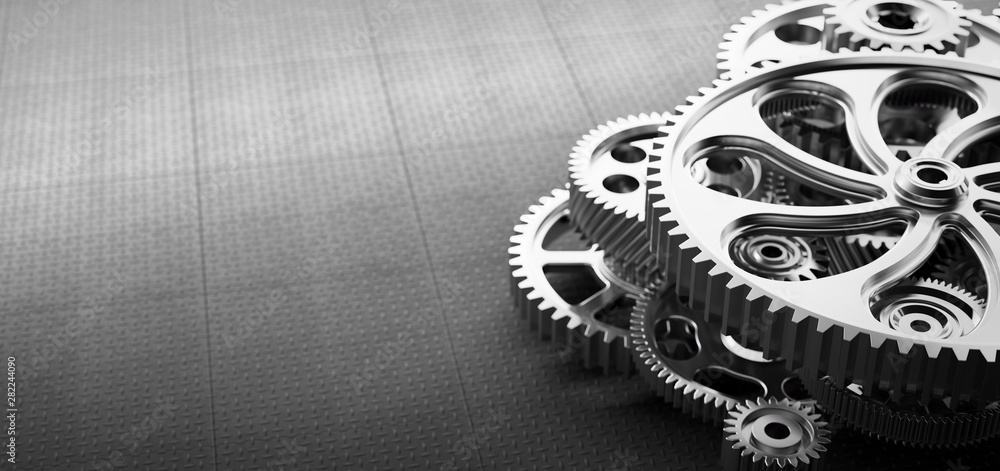 Fototapety, obrazy: Gears and cogs mechanism. Industrial machinery