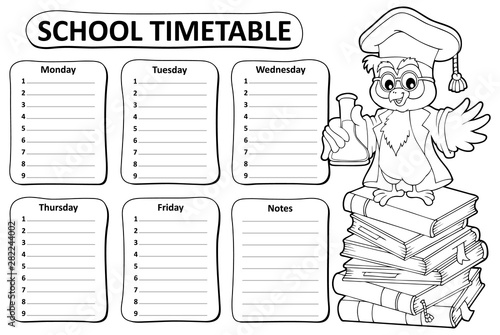 Poster de jardin Enfants Black and white school timetable topic 4