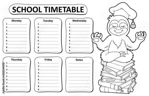 Poster de jardin Enfants Black and white school timetable topic 5
