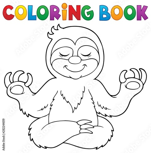 Poster de jardin Enfants Coloring book happy sloth theme 1