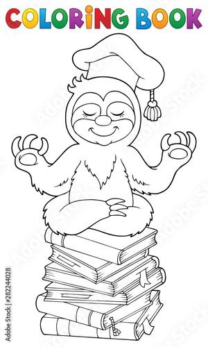 Foto op Plexiglas Voor kinderen Coloring book sloth teacher