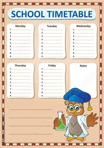 Photo sur Toile Enfants Weekly school timetable template 8