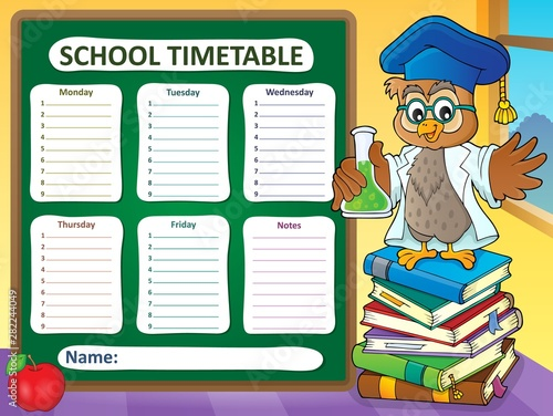 In de dag Voor kinderen Weekly school timetable template 7
