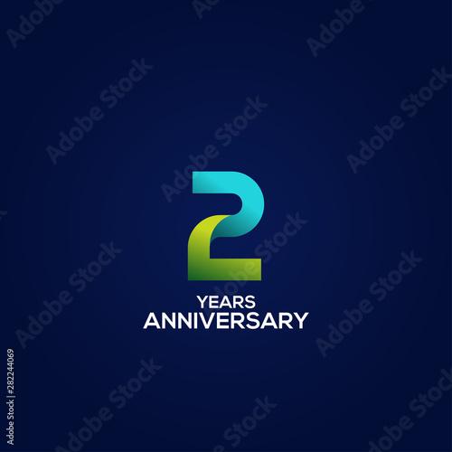 2 Gradient Anniversary Number Vector Design For Celebrate