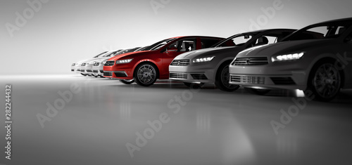 Compact cars fleet in the studio garage Wallpaper Mural
