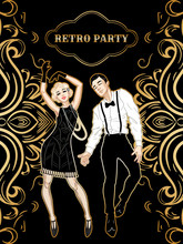 Retro Party Card, Man And Woma...