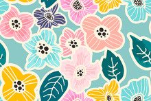 Colorful Hand-drawn Floral Sea...