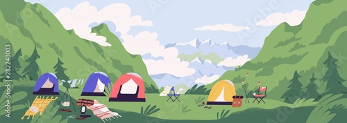 Foto auf Leinwand Olivgrun Touristic camp or campground with tents and campfire. Landscape with forest campsite against mountains in background. Location for adventure tourism, travel, backpacking. Flat vector illustration.