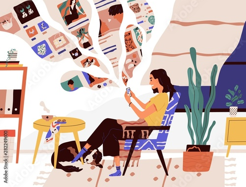 Poster Ouest sauvage Cute funny girl sitting in comfy armchair and surfing internet on her smartphone. Smiling young woman using social network at home. Online search and communication. Flat cartoon vector illustration.