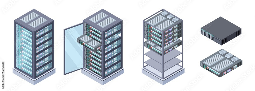 Fototapeta Isometric servers, data storages vector. 3D computer equipment isolated on white background. Storage database, equipment server network, big data safe illustration