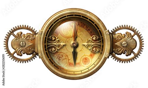 Steampunk fantasy compass illustration Fototapet